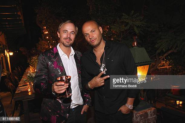 Jonas Tahlin and Stephen Belafonte attend a private dinner at the home of Jonas Tahlin CEO Absolut Elyx on September 29 2016 in West Hollywood...