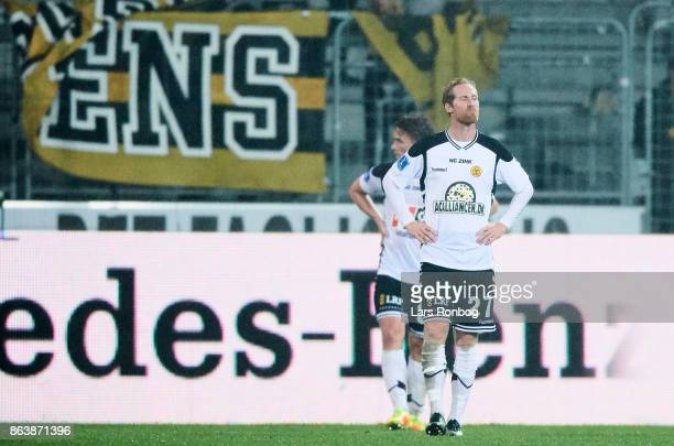 Jonas Thorsen of AC Horsens looks dejected after the Danish Alka Superliga match between FC Midtjylland and AC Horsens at MCH Arena on October 20...