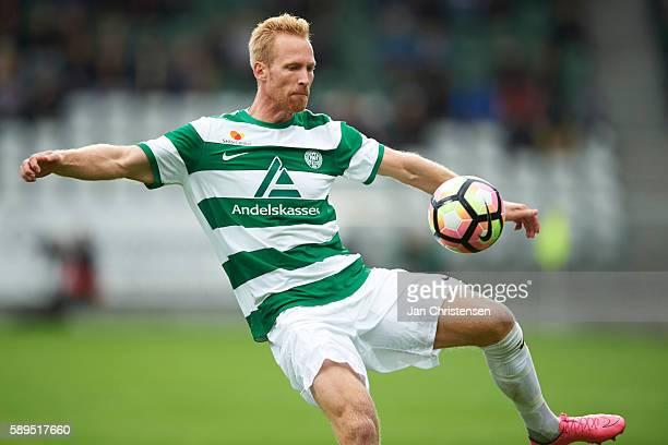 Jonas Thorsen of Viborg FF controls the ball during the Danish Alka Superliga match between Viborg FF and Randers FC at Energi Viborg Arena on August...