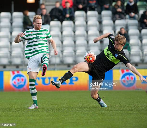 Jonas Thorsen of Viborg FF in action during the Danish Alka Superliga match between Viborg FF and OB Odense at Energi Viborg Arena on November 08...