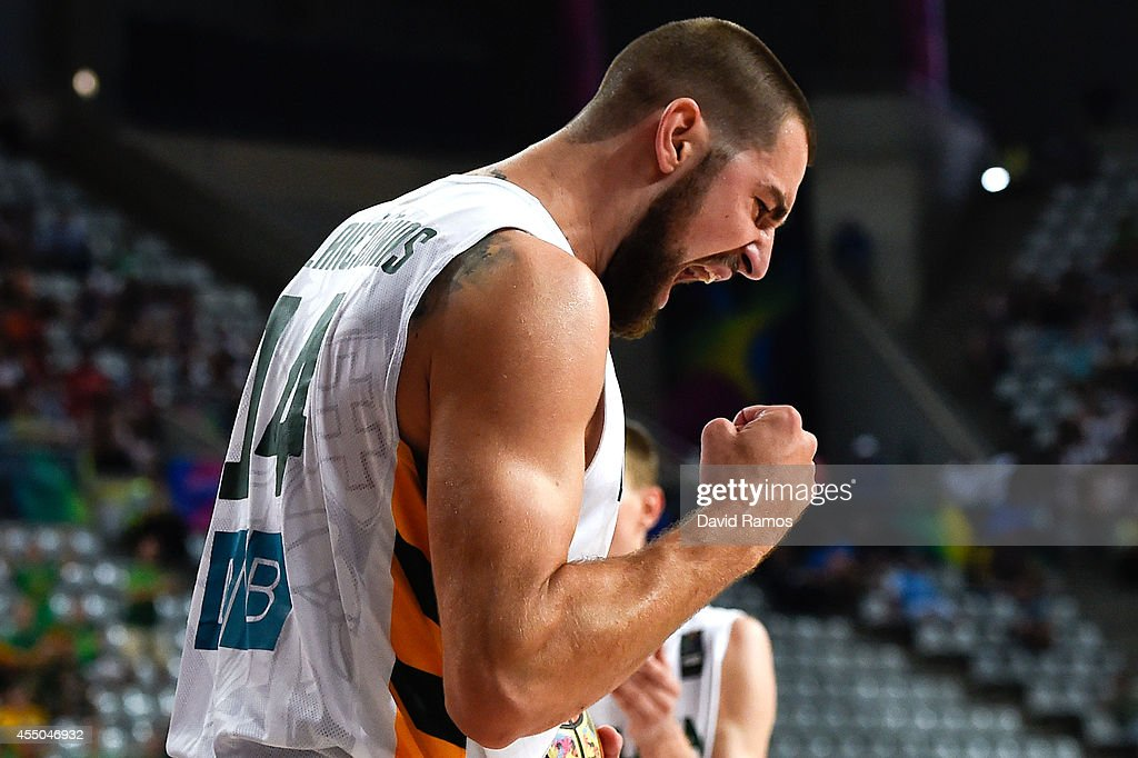 <a gi-track='captionPersonalityLinkClicked' href=/galleries/search?phrase=Jonas+Valanciunas&family=editorial&specificpeople=5654195 ng-click='$event.stopPropagation()'>Jonas Valanciunas</a> #14 of the Lithuania Basketball Men's National Team reacts during 2014 FIBA Basketball World Cup quarter-final match between Lithuania and Turkey at Palau Sant Jordi on September 9, 2014 in Barcelona, Spain.