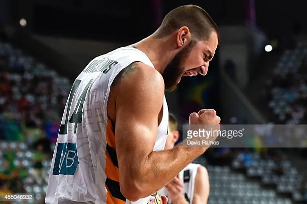 Jonas Valanciunas of the Lithuania Basketball Men's National Team reacts during 2014 FIBA Basketball World Cup quarterfinal match between Lithuania...