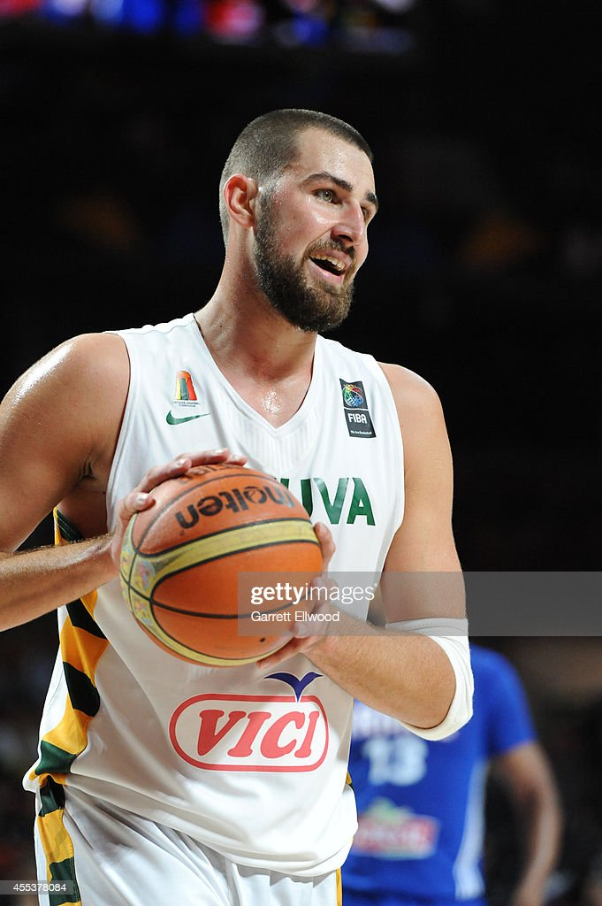 <a gi-track='captionPersonalityLinkClicked' href=/galleries/search?phrase=Jonas+Valanciunas&family=editorial&specificpeople=5654195 ng-click='$event.stopPropagation()'>Jonas Valanciunas</a> #14 of the Lithuania National Team looks on against the France National Team during the 2014 FIBA World Cup Third Place game at Palacio de Deportes on September 13, 2014 in Madrid, Spain.
