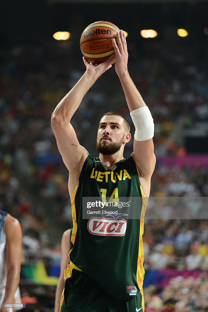 <a gi-track='captionPersonalityLinkClicked' href=/galleries/search?phrase=Jonas+Valanciunas&family=editorial&specificpeople=5654195 ng-click='$event.stopPropagation()'>Jonas Valanciunas</a> #14 of the Lithuania National Team shoots a free throw against the USA Basketball Men's National Team during the 2014 FIBA World Cup Semi-Finals at Palau Sant Jordi on September 11, 2014 in Barcelona, Spain.
