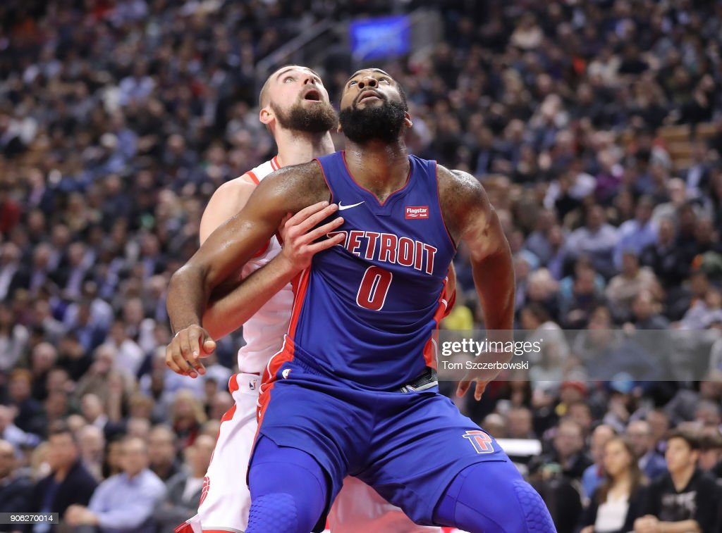 Jonas Valanciunas #17 of the Toronto Raptors and Andre Drummond #0 of the Detroit Pistons anticipate a rebound at Air Canada Centre on January 17, 2018 in Toronto, Canada.