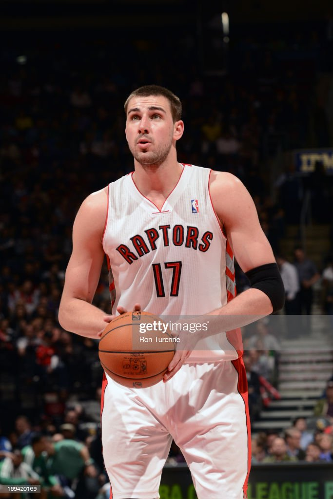 Jonas Valanciunas #17 of the Toronto Raptors attempts a foul shot against the Boston Celtics on April 17, 2013 at the Air Canada Centre in Toronto, Ontario, Canada.