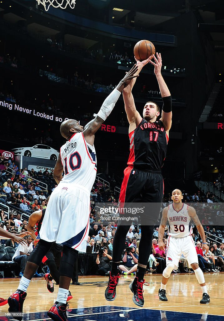 <a gi-track='captionPersonalityLinkClicked' href=/galleries/search?phrase=Jonas+Valanciunas&family=editorial&specificpeople=5654195 ng-click='$event.stopPropagation()'>Jonas Valanciunas</a> #17 of the Toronto Raptors attempts a short shot against the Atlanta Hawks on April 16, 2013 at Philips Arena in Atlanta, Georgia.