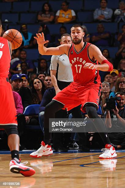Jonas Valanciunas of the Toronto Raptors calls for the ball against the Los Angeles Lakers during a preseason game on October 08 2015 at Citizens...