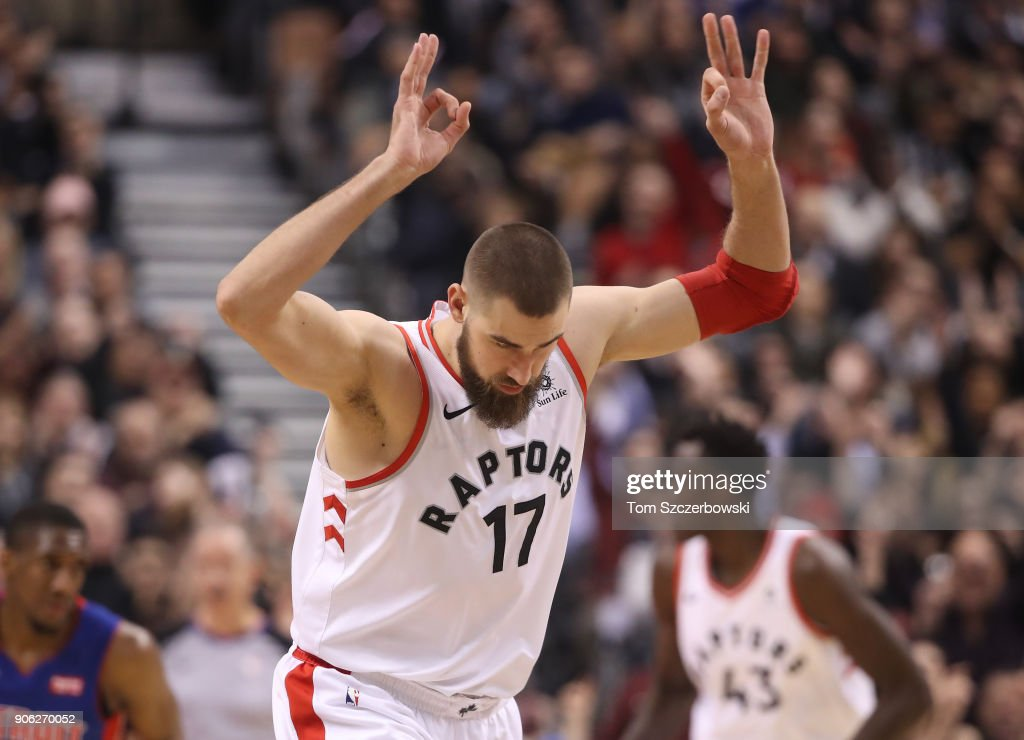 Jonas Valanciunas #17 of the Toronto Raptors celebrates after scoring a three-pointer against the Detroit Pistons at Air Canada Centre on January 17, 2018 in Toronto, Canada.
