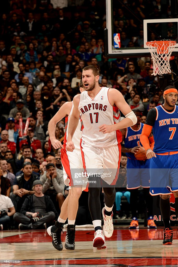 Jonas Valanciunas #17 of the Toronto Raptors celebrates during a game against the New York Knicks on April 11, 2014 at the Air Canada Centre in Toronto, Ontario, Canada.