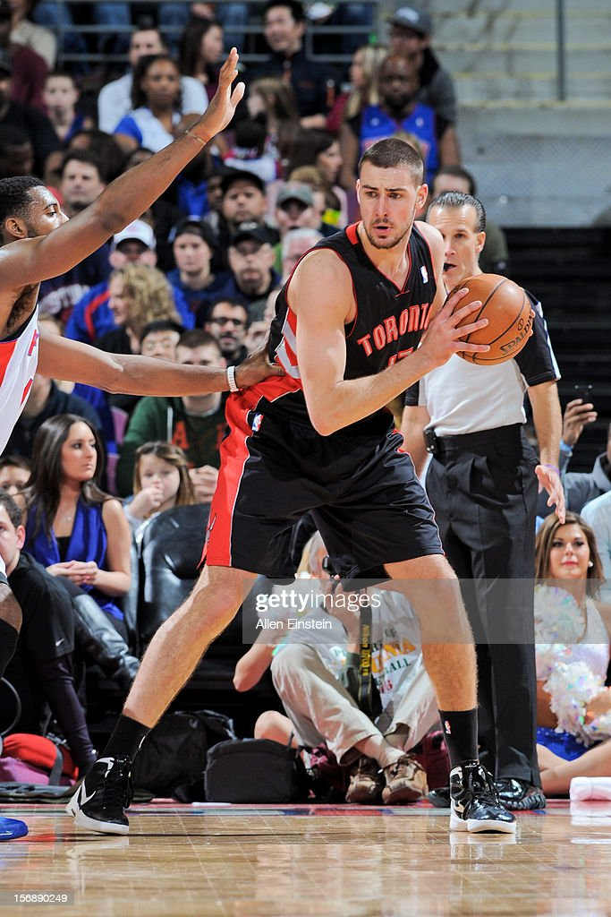 Jonas Valanciunas #17 of the Toronto Raptors controls the ball against the Detroit Pistons on November 23, 2012 at The Palace of Auburn Hills in Auburn Hills, Michigan.