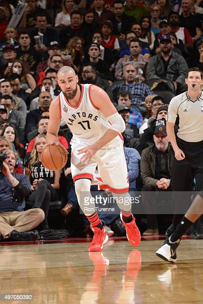 Jonas Valanciunas of the Toronto Raptors dribbles the ball against the New Orleans Pelicans on November 13 2015 at the Air Canada Centre in Toronto...