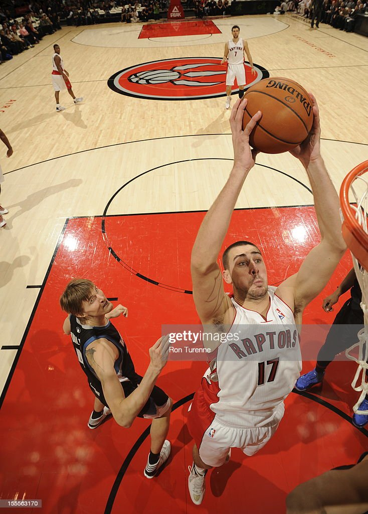 Jonas Valanciunas #17 of the Toronto Raptors drives to the basket against the Minnesota Timberwolves during the game on November 4, 2012 at the Air Canada Centre in Toronto, Ontario, Canada.
