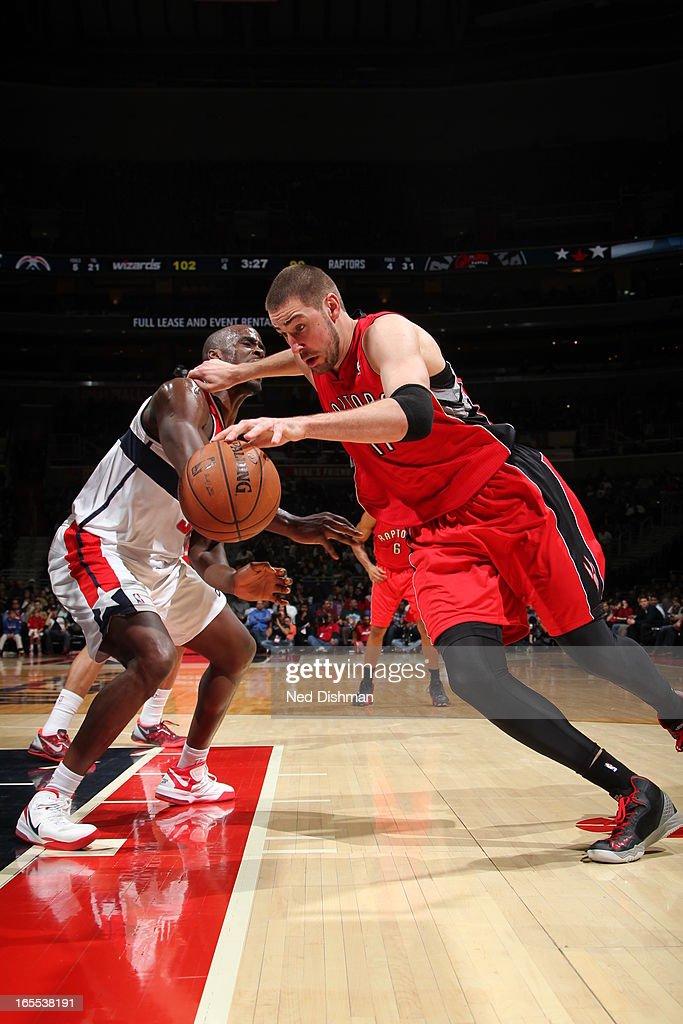 Jonas Valanciunas #17 of the Toronto Raptors drives to the basket against the Washington Wizards at the Verizon Center on March 31, 2013 in Washington, DC.