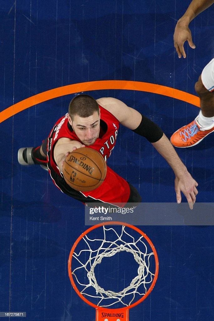 Jonas Valanciunas #17 of the Toronto Raptors drives to the basket against the Charlotte Bobcats at the Time Warner Cable Arena on March 20, 2013 in Charlotte, North Carolina.