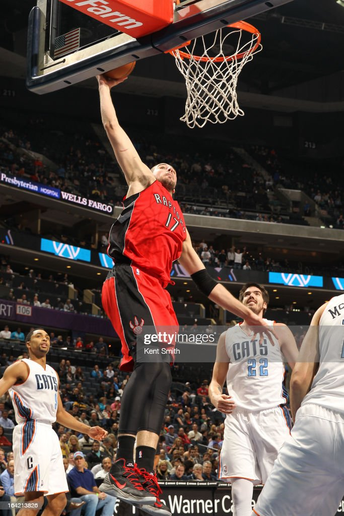 Jonas Valanciunas #17 of the Toronto Raptors dunks against Byron Mullens #22 of the Charlotte Bobcats at the Time Warner Cable Arena on March 20, 2013 in Charlotte, North Carolina.