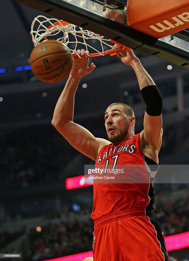 <a gi-track='captionPersonalityLinkClicked' href=/galleries/search?phrase=Jonas+Valanciunas&family=editorial&specificpeople=5654195 ng-click='$event.stopPropagation()'>Jonas Valanciunas</a> #17 of the Toronto Raptors dunks against the Chicago Bulls at the United Center on December 14, 2013 in Chicago, Illinois.