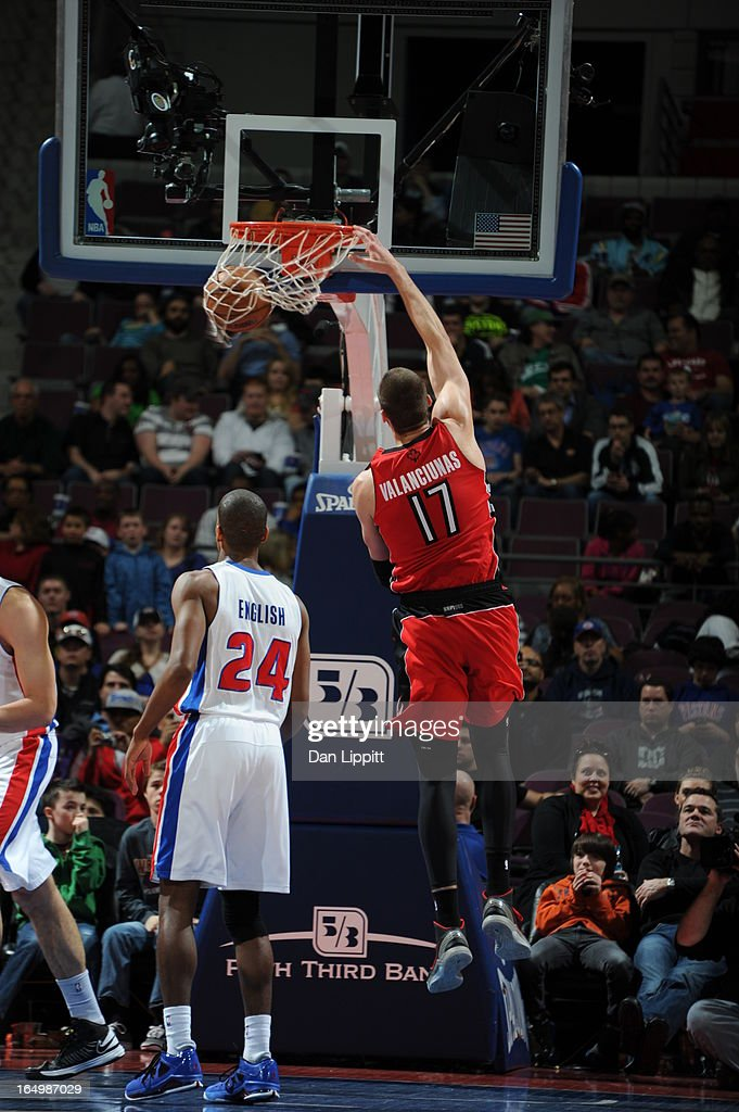 Jonas Valanciunas #17 of the Toronto Raptors dunks during the game between the Detroit Pistons and the Toronto Raptors on March 29, 2013 at The Palace of Auburn Hills in Auburn Hills, Michigan.