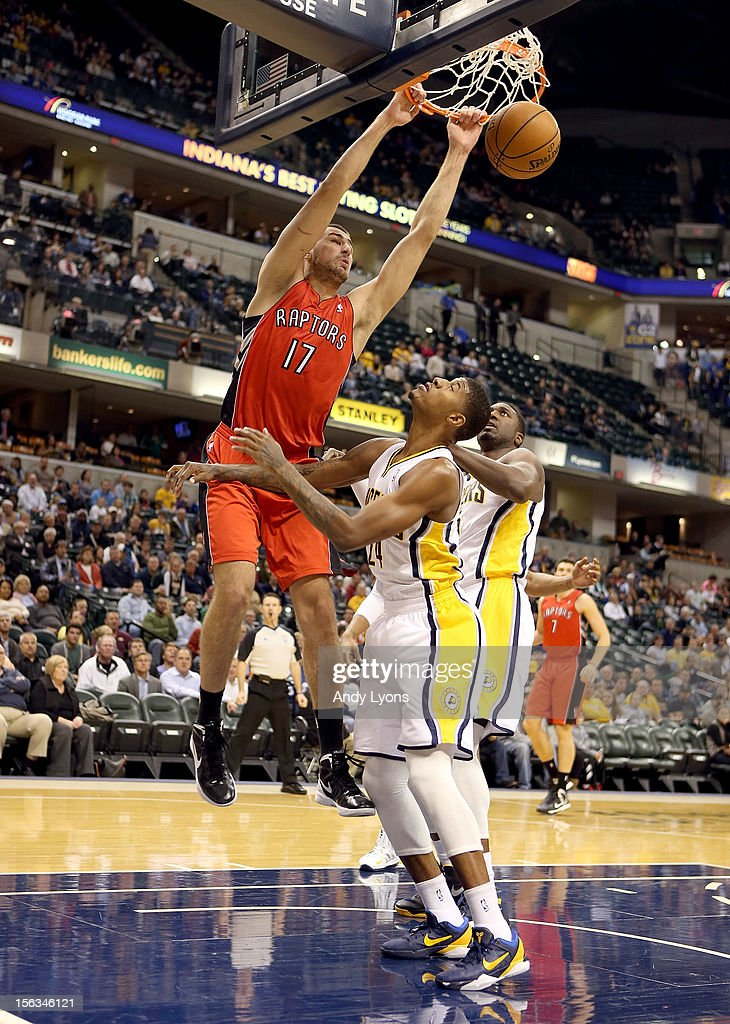 Jonas Valanciunas #17 of the Toronto Raptors dunks the ball during the NBA game against the Indiana Pacersat Bankers Life Fieldhouse on November 13, 2012 in Indianapolis, Indiana.