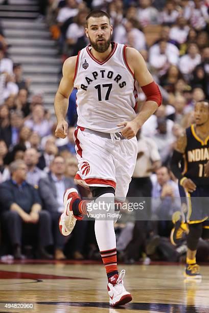 Jonas Valanciunas of the Toronto Raptors during the NBA season opener against the Indiana Pacers at Air Canada Centre on October 28 2015 in Toronto...