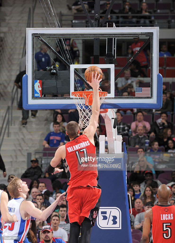 Jonas Valanciunas #17 of the Toronto Raptors goes for a dunk during the game between the Detroit Pistons and the Toronto Raptors on March 29, 2013 at The Palace of Auburn Hills in Auburn Hills, Michigan.