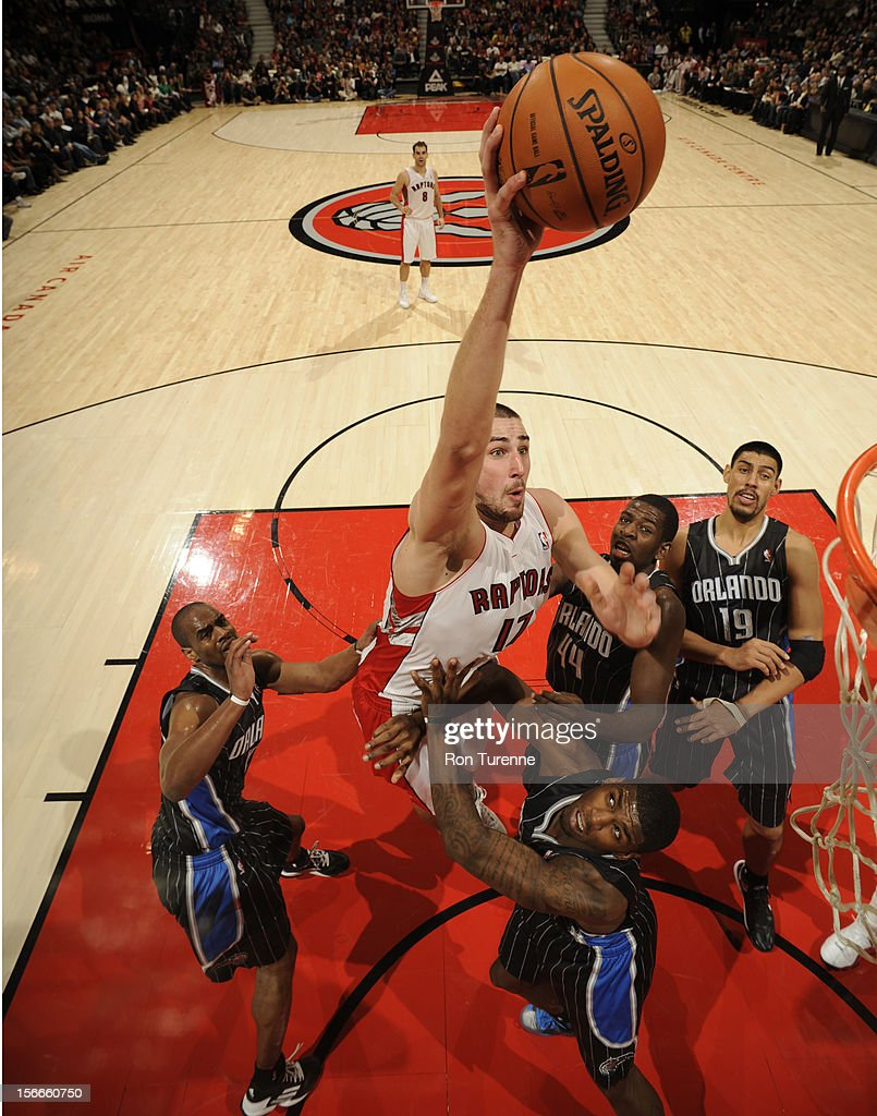Jonas Valanciunas #17 of the Toronto Raptors goes in for the dunk vs the Orlando Magic during the game on November 18, 2012 at the Air Canada Centre in Toronto, Ontario, Canada.