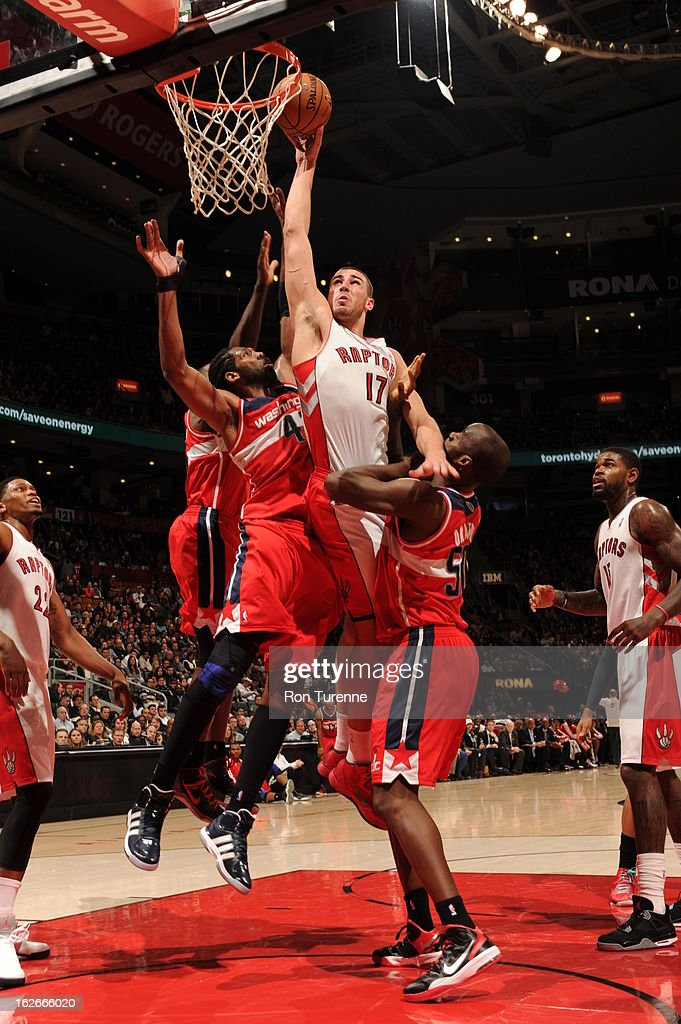 Jonas Valanciunas #17 of the Toronto Raptors goes to the basket during the game between the Toronto Raptors and the Washington Wizards during the game on February 25, 2013 at the Air Canada Centre in Toronto, Ontario, Canada.