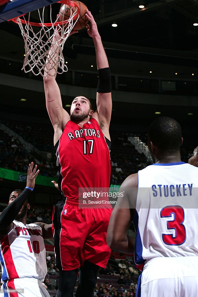 Jonas Valanciunas #17 of the Toronto Raptors goes to the basket during the game between the Detroit Pistons and the Toronto Raptors on March 29, 2013 at The Palace of Auburn Hills in Auburn Hills, Michigan.