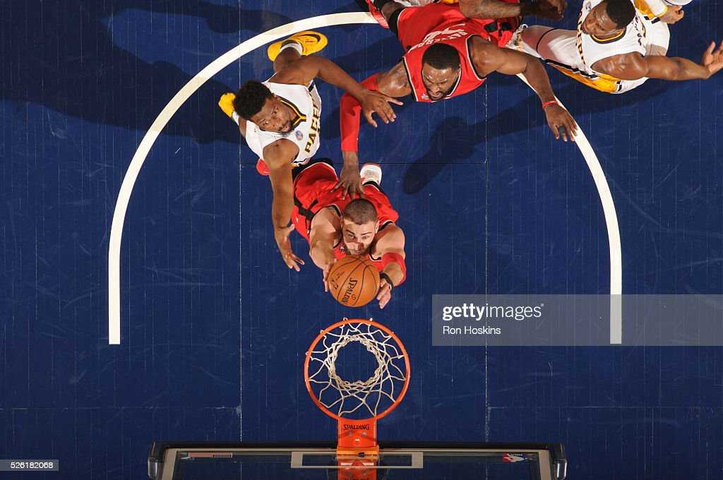 <a gi-track='captionPersonalityLinkClicked' href=/galleries/search?phrase=Jonas+Valanciunas&family=editorial&specificpeople=5654195 ng-click='$event.stopPropagation()'>Jonas Valanciunas</a> #17 of the Toronto Raptors goes up for a dunk against the Indiana Pacers in Game Six of the Eastern Conference Quarterfinals during the 2016 NBA Playoffs on April 29, 2016 at Bankers Life Fieldhouse in Indianapolis, Indiana.