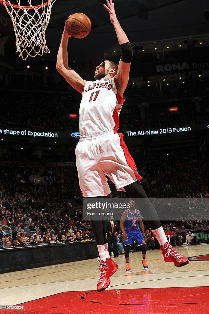 <a gi-track='captionPersonalityLinkClicked' href=/galleries/search?phrase=Jonas+Valanciunas&family=editorial&specificpeople=5654195 ng-click='$event.stopPropagation()'>Jonas Valanciunas</a> #17 of the Toronto Raptors grabs a rebound against the New York Knicks on March 22, 2013 at the Air Canada Centre in Toronto, Ontario, Canada.