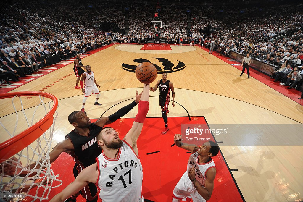 Jonas Valanciunas #17 of the Toronto Raptors grabs the rebound against the Miami Heat in Game Two of the Eastern Conference Semifinals on May 5, 2016 at the Air Canada Centre in Toronto, Ontario, Canada.