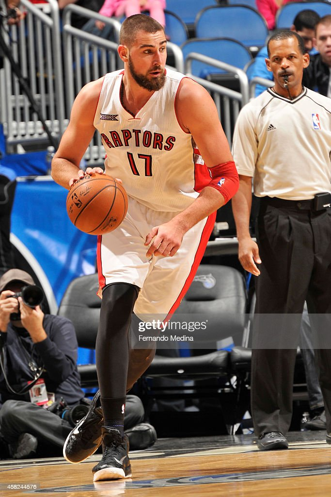 Jonas Valanciunas #17 of the Toronto Raptors handles the ball against the Orlando Magic on November 1, 2014 at Amway Center in Orlando, Florida.