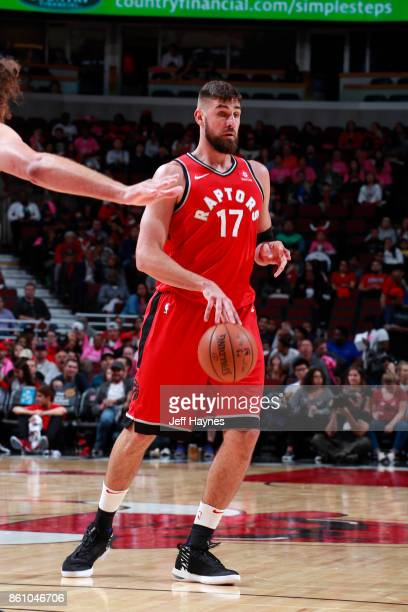 Jonas Valanciunas of the Toronto Raptors handles the ball against the Chicago Bulls on October 13 2017 at the United Center in Chicago Illinois NOTE...