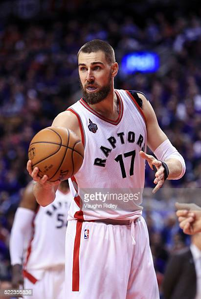 Jonas Valanciunas of the Toronto Raptors hands the ball to the referee in the second half of Game Two against the Indiana Pacers of the Eastern...