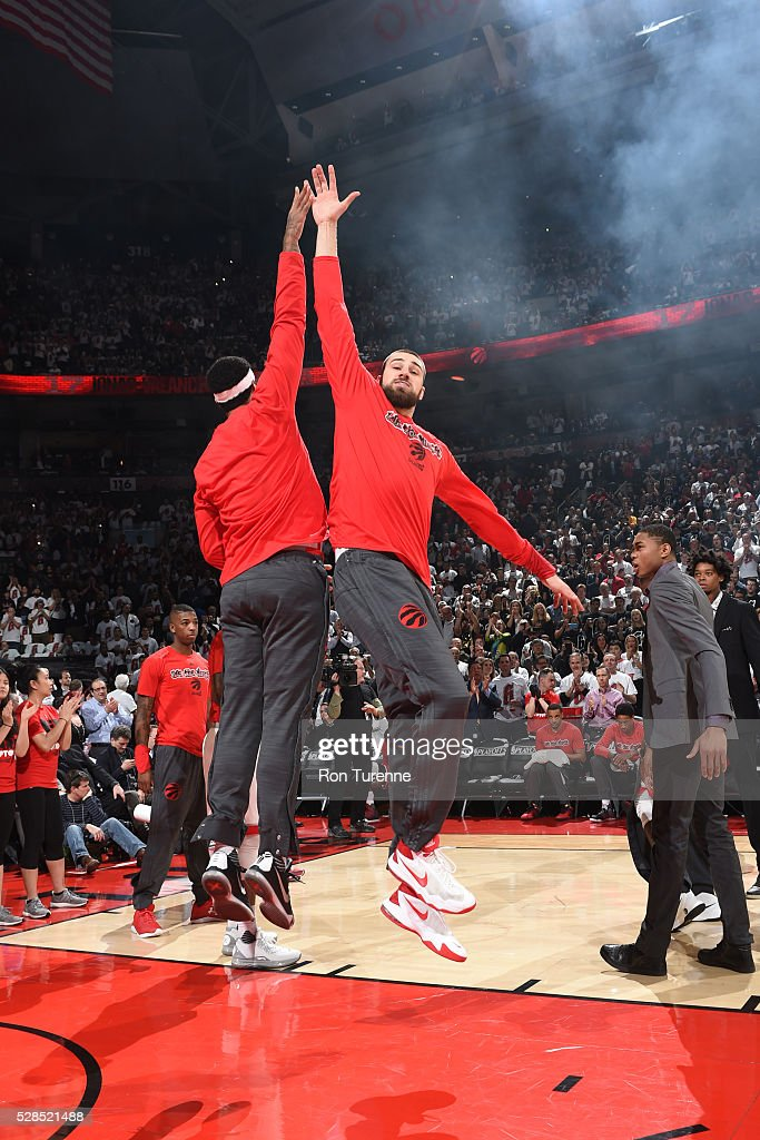 <a gi-track='captionPersonalityLinkClicked' href=/galleries/search?phrase=Jonas+Valanciunas&family=editorial&specificpeople=5654195 ng-click='$event.stopPropagation()'>Jonas Valanciunas</a> #17 of the Toronto Raptors is introduced before the game against the Miami Heat in Game Two of the Eastern Conference Semifinals on May 5, 2016 at the Air Canada Centre in Toronto, Ontario, Canada.
