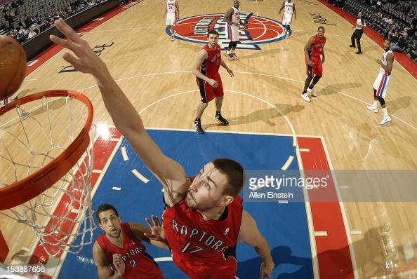 Jonas Valanciunas of the Toronto Raptors lays the ball up during the game between the Detroit Pistons and the Toronto Raptors on October 10 2012 at...