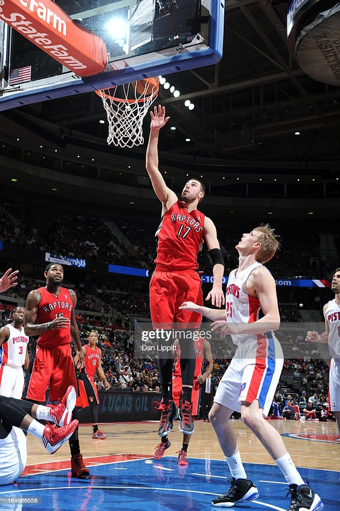 Jonas Valanciunas #17 of the Toronto Raptors lays the ball up during the game between the Detroit Pistons and the Toronto Raptors on March 29, 2013 at The Palace of Auburn Hills in Auburn Hills, Michigan.