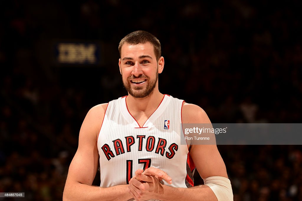 Jonas Valanciunas #17 of the Toronto Raptors looks on against the Milwaukee Bucks during the game on April 14, 2014 at the Air Canada Centre in Toronto, Ontario, Canada.