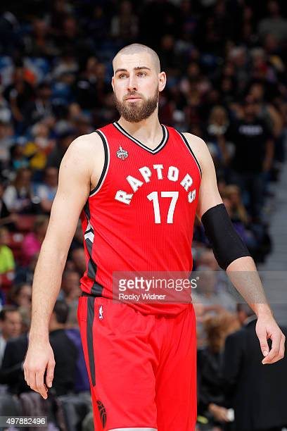 Jonas Valanciunas of the Toronto Raptors looks on during the game against the Sacramento Kings on November 15 2015 at Sleep Train Arena in Sacramento...
