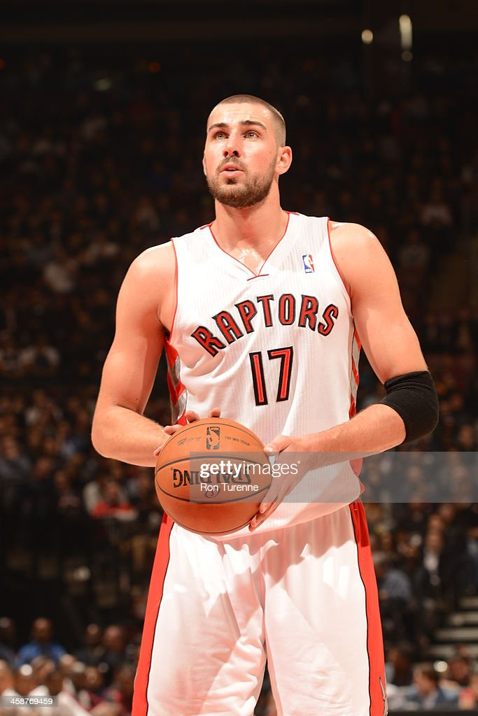 <a gi-track='captionPersonalityLinkClicked' href=/galleries/search?phrase=Jonas+Valanciunas&family=editorial&specificpeople=5654195 ng-click='$event.stopPropagation()'>Jonas Valanciunas</a> #17 of the Toronto Raptors looks to shoot a foul shot against the Miami Heat during the game on November 5, 2013 at the Air Canada Centre in Toronto, Ontario, Canada.