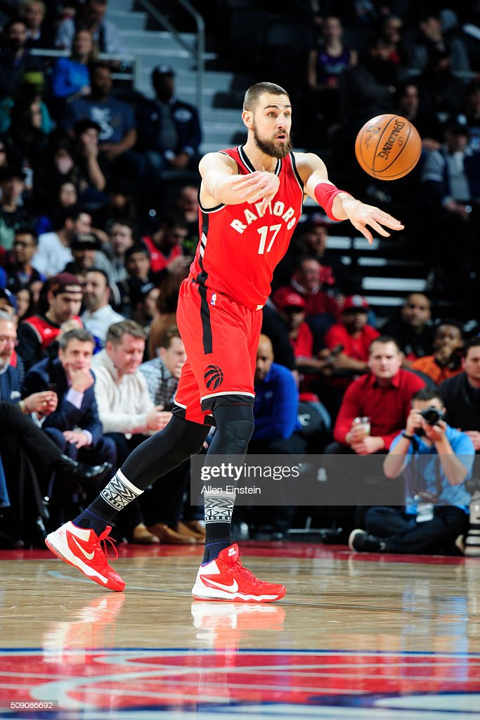 <a gi-track='captionPersonalityLinkClicked' href=/galleries/search?phrase=Jonas+Valanciunas&family=editorial&specificpeople=5654195 ng-click='$event.stopPropagation()'>Jonas Valanciunas</a> #17 of the Toronto Raptors passes the ball against the Detroit Pistons on February 8, 2016 at The Palace of Auburn Hills in Auburn Hills, Michigan.