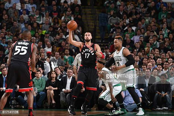 Jonas Valanciunas of the Toronto Raptors passes the ball against the Boston Celtics on March 23 2016 at the TD Garden in Boston Massachusetts NOTE TO...