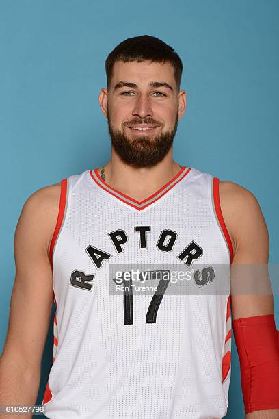 Jonas Valanciunas of the Toronto Raptors poses for a head shot during the 20162017 Media Day on September 26 2016 at the BioSteel Centre in Toronto...