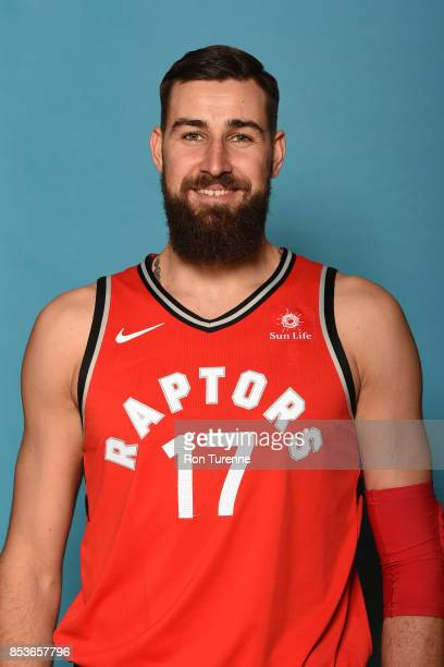 Jonas Valanciunas of the Toronto Raptors poses for a head shot during Media Day on September 25 2017 at the BioSteel Centre in Toronto Ontario Canada...