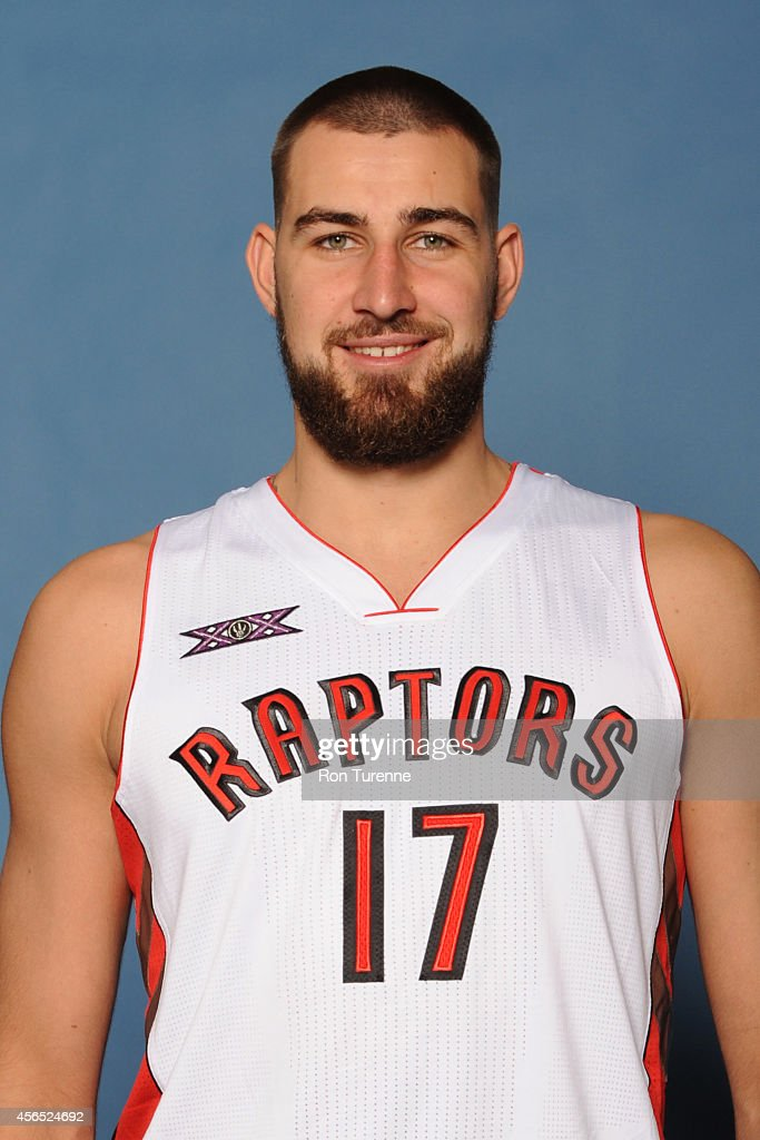 Jonas Valanciunas #17 of the Toronto Raptors poses for a photo during 2014 Raptors Media Day at the Air Canada Centre in Toronto, Ontario, Canada.