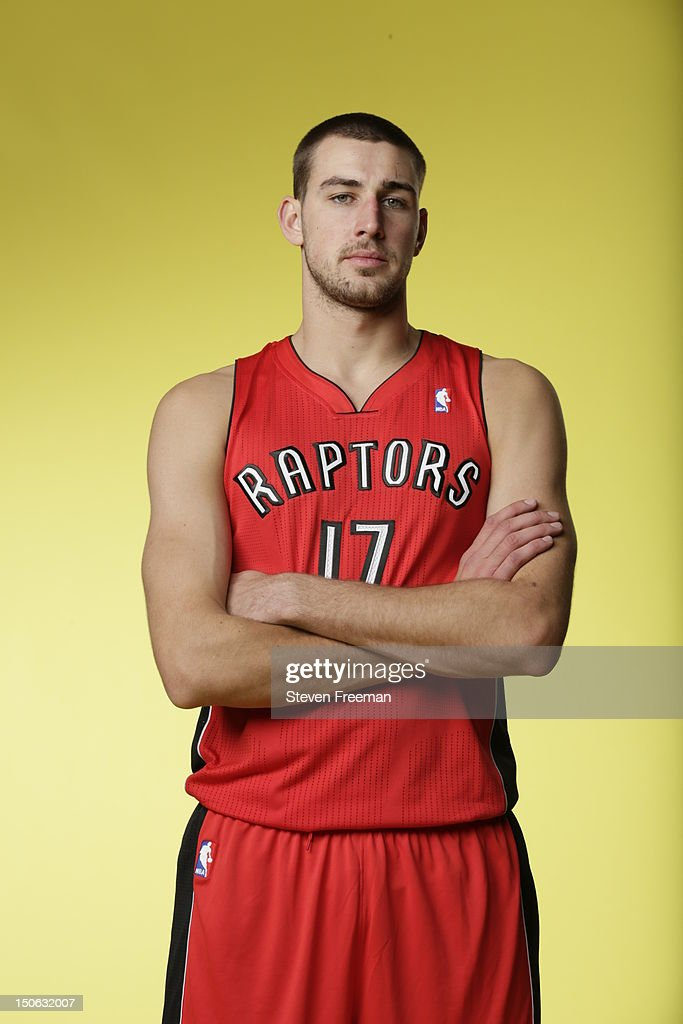 Jonas Valanciunas #17 of the Toronto Raptors poses for a portrait during the 2012 NBA rookie photo shoot on August 21, 2012 at the MSG Training Facility in Tarrytown, New York.