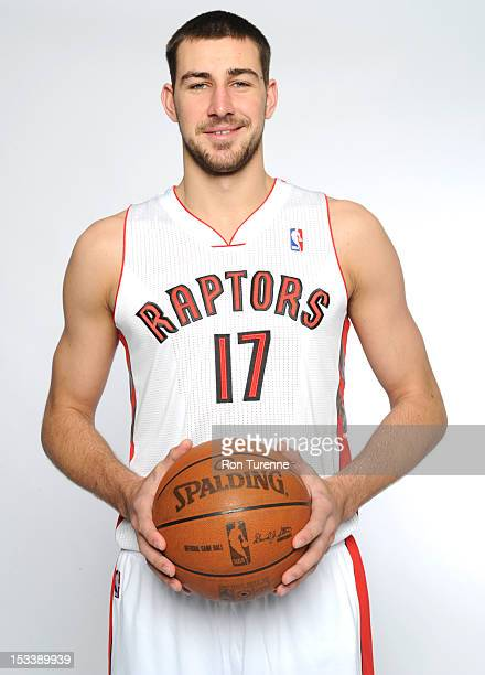 Jonas Valanciunas of the Toronto Raptors poses for a portrait during a Media Day on October 1 2012 in Toronto Canada NOTE TO USER User expressly...