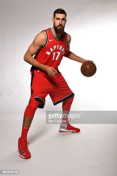 Jonas Valanciunas of the Toronto Raptors poses for a portrait during Media Day on September 25 2017 at the BioSteel Centre in Toronto Ontario Canada...