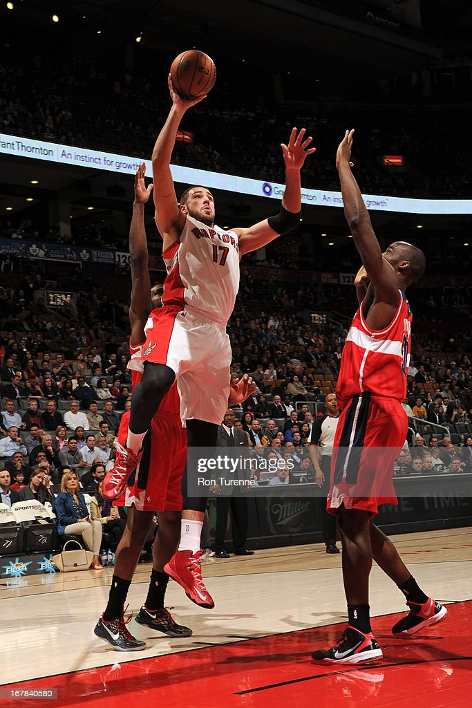 Jonas Valanciunas #17 of the Toronto Raptors puts up a shot against the Washington Wizards on April 3, 2013 at the Air Canada Centre in Toronto, Ontario, Canada.