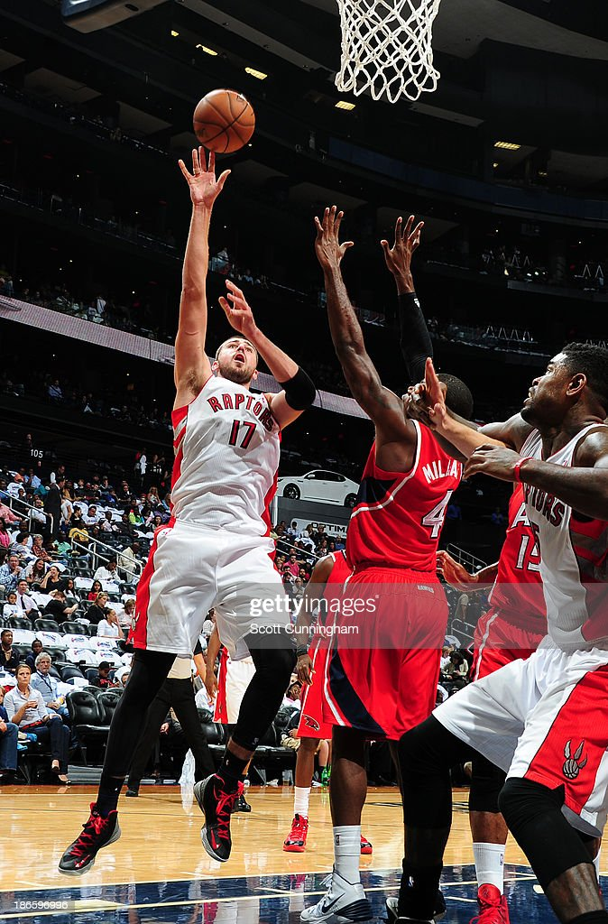 <a gi-track='captionPersonalityLinkClicked' href=/galleries/search?phrase=Jonas+Valanciunas&family=editorial&specificpeople=5654195 ng-click='$event.stopPropagation()'>Jonas Valanciunas</a> #17 of the Toronto Raptors puts up a shot against the Atlanta Hawks on November 1, 2013 at Philips Arena in Atlanta, Georgia.